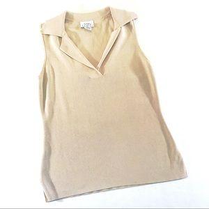 LOFT Beige Sleeveless Knit Top (XS)